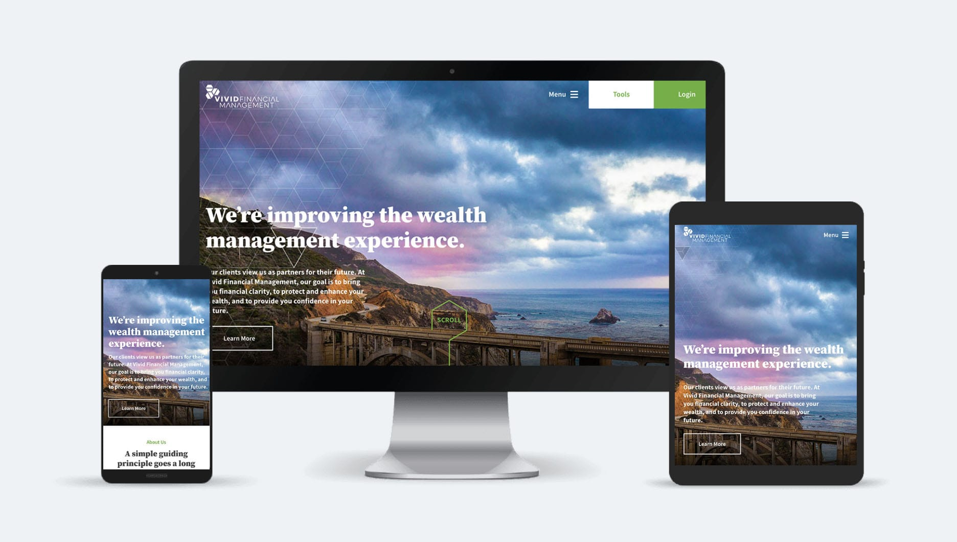 Vivid Financial Management website and logo redesign and redevelopment by Motion Tactic - Unforgettable Branding